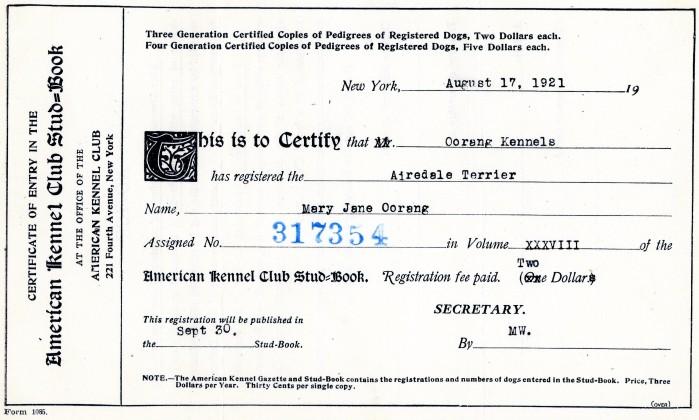 Akc Registration Certificate